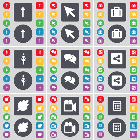 chat up: Arrow up, Cursor, Suitcase, Silhouette, Chat, Share, Leaf, Film camera, Calendar icon symbol. A large set of flat, colored buttons for your design. Vector illustration