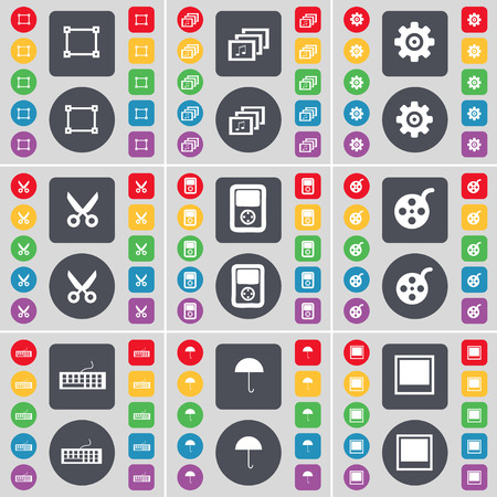 videotape: Frame, Gallery, Gear, Scissors, Player, Videotape, Keyboard, Umbrella, Window icon symbol. A large set of flat, colored buttons for your design. Vector illustration