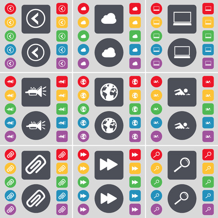 magnifying glass icon: Arrow left, Cloud, Laptop, Trumped, Earth, Swimmer, Clip, Rewind, Magnifying glass icon symbol. A large set of flat, colored buttons for your design. Vector illustration