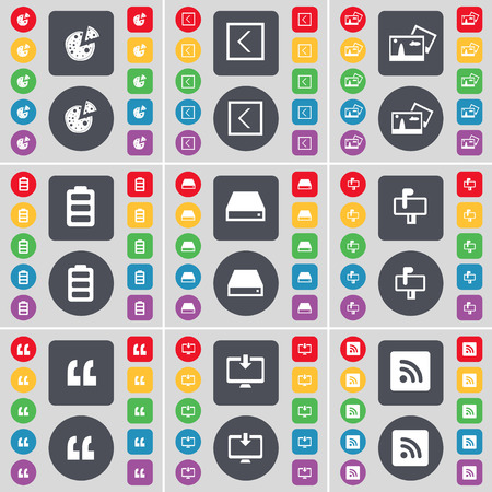 hard drive: Pizza, Arrow left, Picture, Battery, Hard drive, Mailbox, Quoting mark, Monitor, RSS icon symbol. A large set of flat, colored buttons for your design. Vector illustration