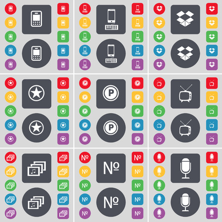 dropbox: Mobile phone, Smartphone, Dropbox, Star, Parking, Retro TV, Gallery, Number, Microphone icon symbol. A large set of flat, colored buttons for your design. Vector illustration