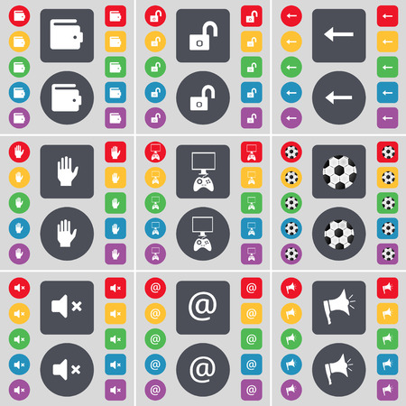 game console: Wallet, Lock, Arrow left, Hand, Game console, Ball, Mute, Mail, Megaphone icon symbol. A large set of flat, colored buttons for your design. Vector illustration