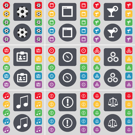 note of exclamation: Ball, Window, Cocktail, Contact, Compass, Gear, Note, Exclamation mark, Scales icon symbol. A large set of flat, colored buttons for your design. Vector illustration
