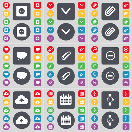 orologio da polso: Socket, Arrow down, Clip, Chat cloud, Clip, Minus, Cloud, Calendar, Wrist watch icon symbol. A large set of flat, colored buttons for your design. Vector illustration