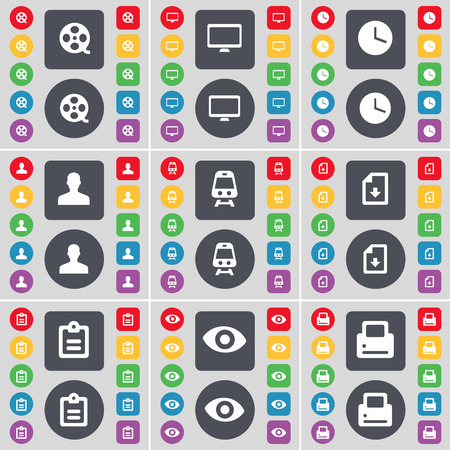 videotape: Videotape, Monitor, Clock, Avatar, Train, File, Survey, Vision, Printer icon symbol. A large set of flat, colored buttons for your design. Vector illustration