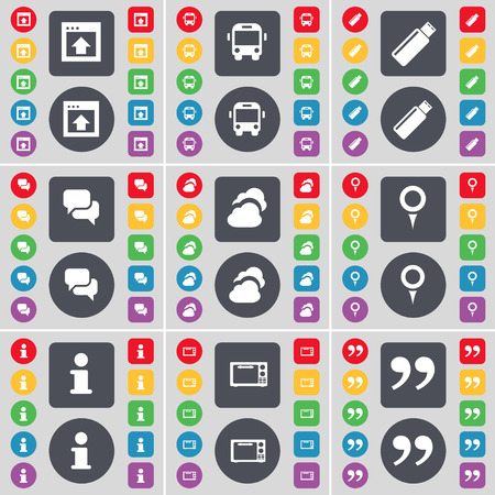 chat window: Window, Bus, USB, Chat, Cloud, Checkpoint, Information, Microwave, Quotation mark icon symbol. A large set of flat, colored buttons for your design. Vector illustration