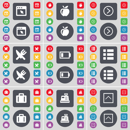 arrow right: Window, Apple, Arrow right, Fork and knife, Battery, List, Suitcase, Cash register, Arrow up icon symbol. A large set of flat, colored buttons for your design. Vector illustration