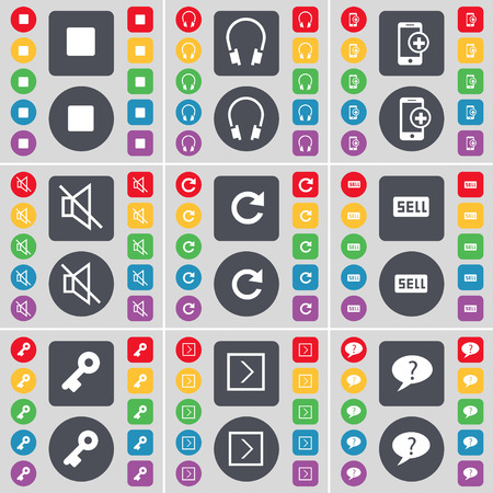 arrow right: Media stop, Headphones, Smartphones, Mute, Reload, Sell, Key, Arrow right, Question mark icon symbol. A large set of flat, colored buttons for your design. Vector illustration