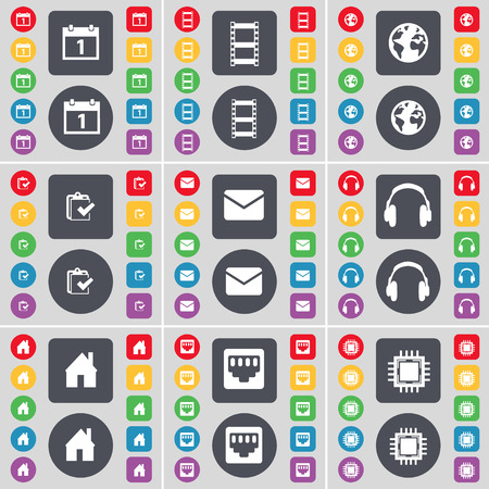 lan: Calendar, Negative films, Earth, Survey, Message, Headphones, House, LAN socket, Processor icon symbol. A large set of flat, colored buttons for your design. Vector illustration Illustration