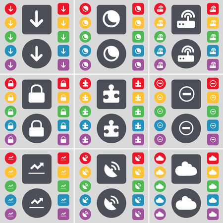 arrow down: Arrow down, Moon, Router, Lock, Puzzle part, Minus, Graph, Satellite dish, Cloud icon symbol. A large set of flat, colored buttons for your design. Vector illustration