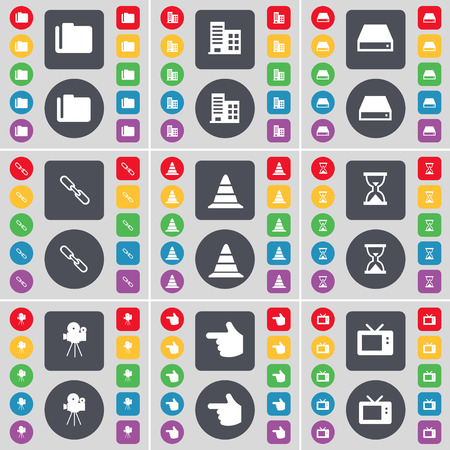 Folder, Newspaper, Hard drive, Link, Cone, Hourglass, Film camera, Hand, Microwave icon symbol. A large set of flat, colored buttons for your design. Vector illustration