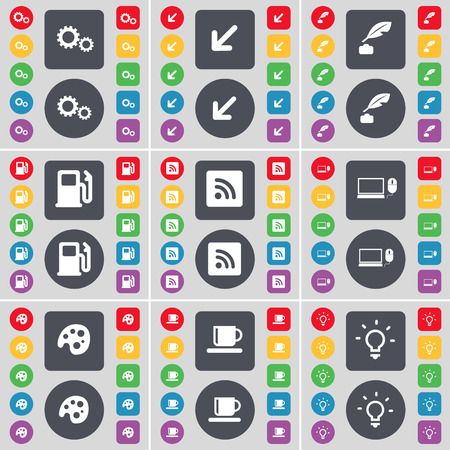 ink pot: Gear, Deploying screen, Ink pot, Gas station, RSS, Laptop, Palette, Cup, Light bulb icon symbol. A large set of flat, colored buttons for your design. Vector illustration