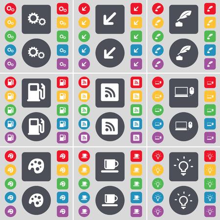 ink pot: Gear, pantalla, pote de tinta, Gasolinera, RSS, Ordenador port�til, Paleta, Copa, bombilla icono s�mbolo de Implementaci�n. Un gran conjunto de planos botones, colores para su dise�o. Ilustraci�n vectorial