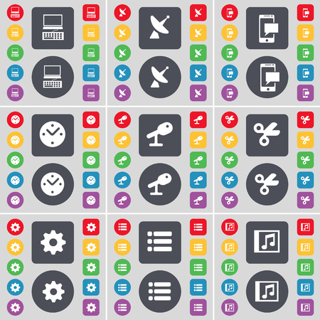 satellite dish: Laptop, Satellite dish, SMS, Clock, Microphone, Scissors, Gear, List, Music window icon symbol. A large set of flat, colored buttons for your design. Vector illustration