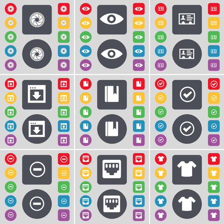 contact lens: Lens, Vision, Contact, Window, Dictionary, Tick, Minus, LAN socket, T-Shirt icon symbol. A large set of flat, colored buttons for your design. Vector illustration Illustration