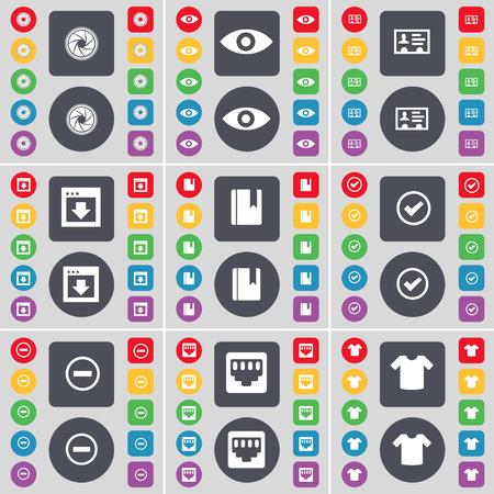 red lan: Lente, Visi�n, Contacto, Ventana, diccionario, Tick, Minus, conexi�n LAN, Camiseta del s�mbolo del icono. Un gran conjunto de planos botones, colores para su dise�o. Ilustraci�n vectorial Vectores