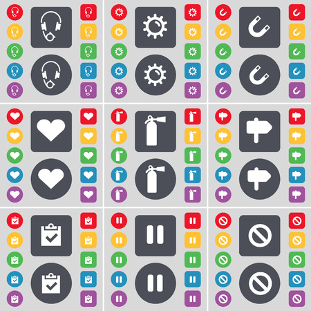 fire extinguisher symbol: Headphones, Gear, Magnet, Heart, Fire extinguisher, Signpost, Survey, Pause, Stop icon symbol. A large set of flat, colored buttons for your design. Vector illustration