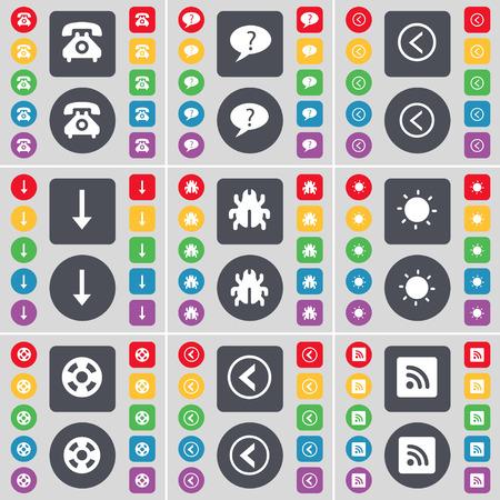 arrow down: Retro phone, Chat bubble, Arrow left, Arrow down, Bug, Light, Videotape, Arrow left, RSS icon symbol. A large set of flat, colored buttons for your design. Vector illustration