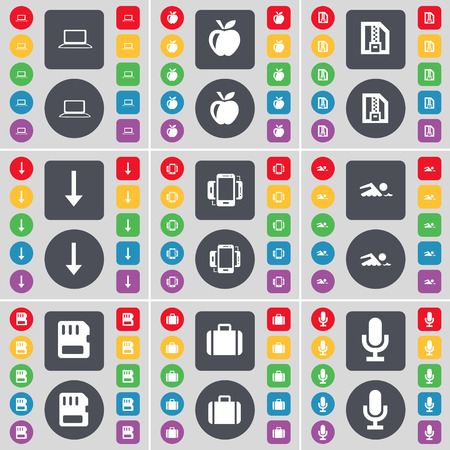 sim card: Laptop, Apple, ZIP card, Arrow down, Connection, Swimmer, SIM card, Suitcase, Microphone icon symbol. A large set of flat, colored buttons for your design. Vector illustration Illustration