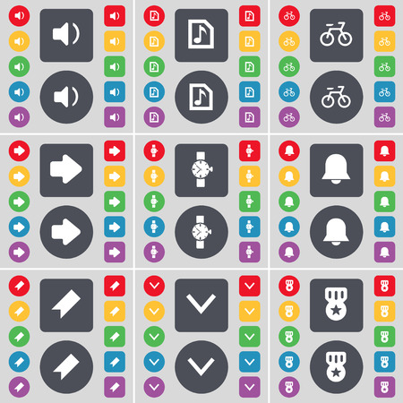 orologio da polso: Sound, Music file, Bicycle, Arrow right, Wrist watch, Notification, Marker, Arrow down, Medal icon symbol. A large set of flat, colored buttons for your design. Vector illustration