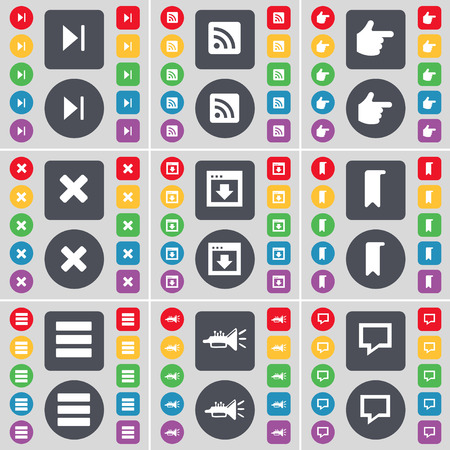 hand stop: Media skip, RSS, Hand, Stop, Window, Marker, Apps, Trumped, Chat bubble icon symbol. A large set of flat, colored buttons for your design. Vector illustration