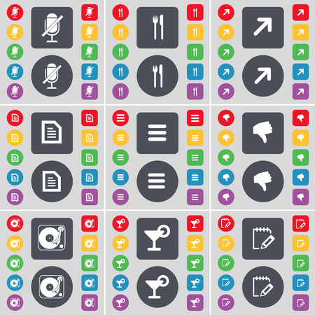 full screen: Microphone, Fork and knife, Full screen, Text file, Apps, Dislike, Gramophone, Cocktail, Notebook icon symbol. A large set of flat, colored buttons for your design. Vector illustration