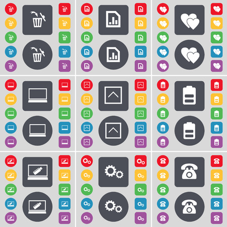heart gear: Trash can, Graph file, Heart, Laptop, Arrow up, Battery, Laptop, Gear, Retro phone icon symbol. A large set of flat, colored buttons for your design. Vector illustration