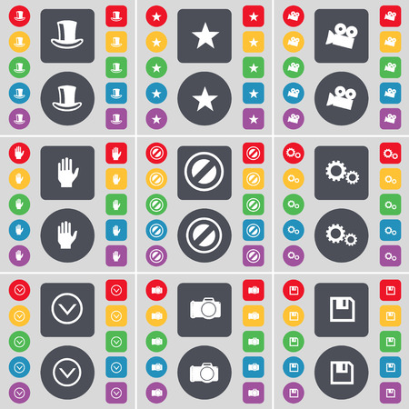 silk hat: Silk hat, Star, Film camera, Hand, Stop, gear, Arrow down, Camera, Floppy icon symbol. A large set of flat, colored buttons for your design. Vector illustration