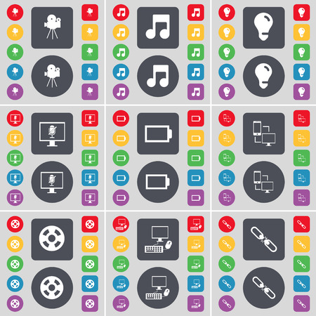 note pc: Film camera, Note, Light bulb, Monitor, Battery, Information exchange, Videotape,  PC, Link icon symbol. A large set of flat, colored buttons for your design. Vector illustration Illustration