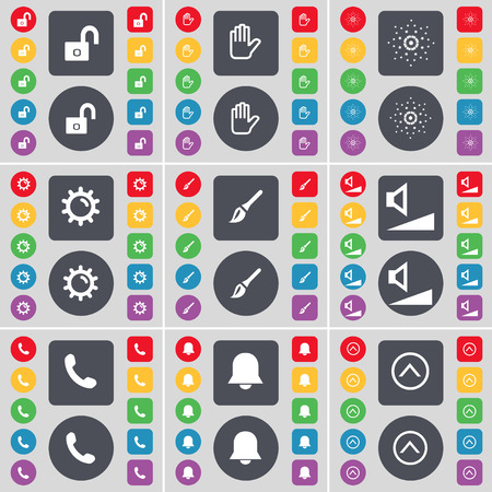 lock up: Lock, Hand, Star, Gear, Brush, Volume, Receiver, Notification, Arrow up icon symbol. A large set of flat, colored buttons for your design. Vector illustration Illustration