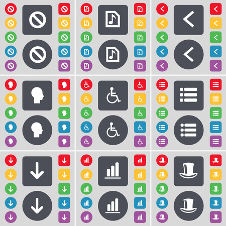 disabled person: Stop, Music file, Arrow left, Silhouette, Disabled person, List, Arrow down, Diagram, Silk hat icon symbol. A large set of flat, colored buttons for your design. Vector illustration