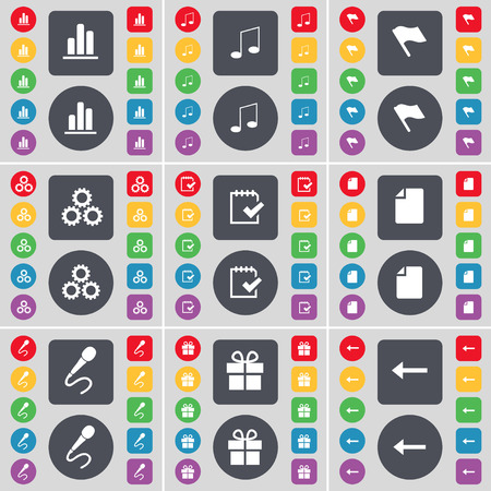 arrow left icon: Diagram, Note, Flag, Gear, Survey, File, Microphone, Gift, Arrow left icon symbol. A large set of flat, colored buttons for your design. Vector illustration Illustration