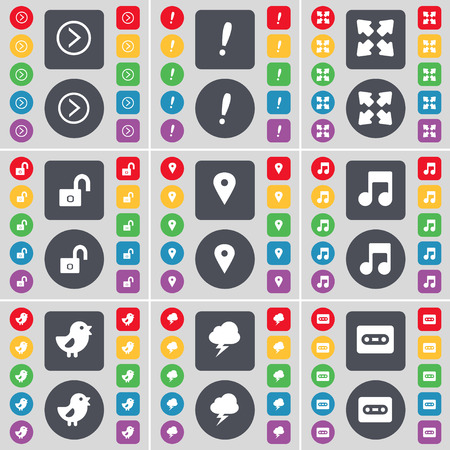 note of exclamation: Arrow right, Exclamation mark, Full screen, Lock, Checkpoint, Note, Bird, Lightning, Cassette icon symbol. A large set of flat, colored buttons for your design. Vector illustration