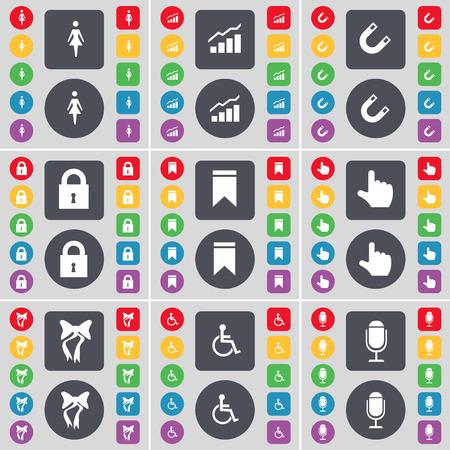 personne handicap�e: Silhouette, Graphique, Magnet, Lock, Marker, Main, Bow, handicap�, symbole de l'ic�ne de microphone. Un vaste ensemble de plats, des boutons de couleur pour votre conception. Vector illustration Illustration