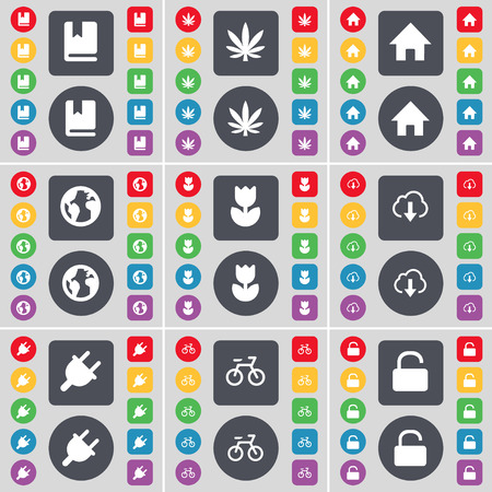 folder lock: Dictionary, Marijuana, House, Earth, Folder, Cloud, Socket, Bicycle, Lock icon symbol. A large set of flat, colored buttons for your design. Vector illustration
