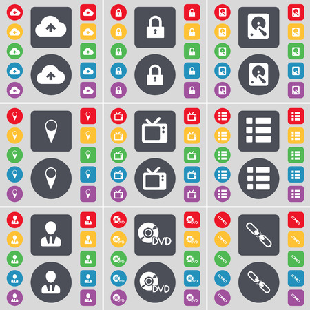 hard drive: Cloud, Lock, Hard drive, Checkpoint, Retro TV, List, Avatar, DVD, Link icon symbol. A large set of flat, colored buttons for your design. Vector illustration