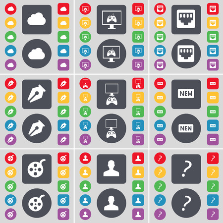 mark pen: Cloud, Monitor, Socket, Ink pen, Gamepad, New, Videotape, Avatar, Question mark icon symbol. A large set of flat, colored buttons for your design. Vector illustration