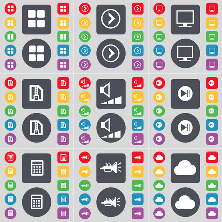skip: Apps, Arrow right, Monitor, ZIP file, Volume, Media skip, Calendar, Trumped, Cloud icon symbol. A large set of flat, colored buttons for your design. Vector illustration Illustration