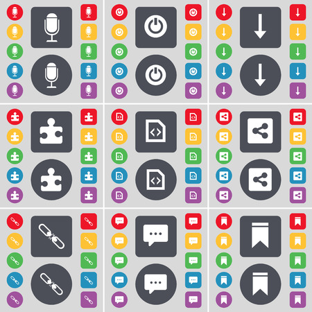 file share: Microphone, Power, Arrow down, Puzzle part, File, Share, Link, Chat bubble, Marker icon symbol. A large set of flat, colored buttons for your design. Vector illustration Illustration