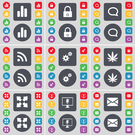chat bubble: Diagram, Lock, Chat bubble, RSS, Gear, Marijuana, Full screen, Monitor, Message icon symbol. A large set of flat, colored buttons for your design. Vector illustration