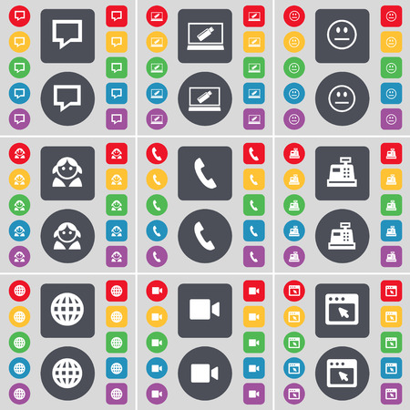 chat bubble: Chat bubble, Laptop, Smile, Avatar, Receiver, Cash register, Globe, Film camera, Window icon symbol. A large set of flat, colored buttons for your design. Vector illustration