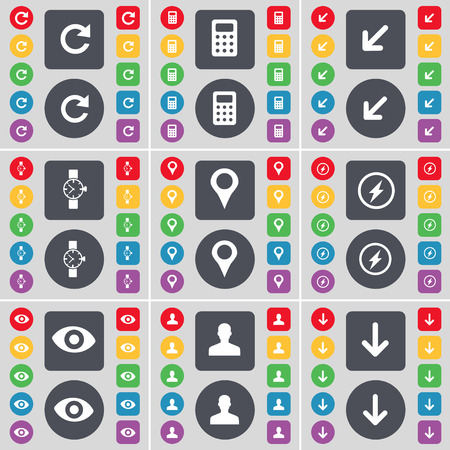 arrow down icon: Reload, Calculator, Deploying screen, Wrist watch, Checkpoint, Flash, Vision, Avatar, Arrow down icon symbol. A large set of flat, colored buttons for your design. Vector illustration