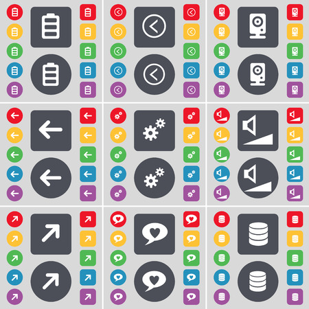 full screen: Battery, Arrow left, Speaker, Arrow left, Gear, Volume, Full screen, Chat bubble, Database icon symbol. A large set of flat, colored buttons for your design. Vector illustration