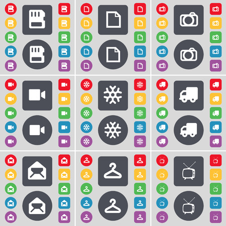 card file: SIM card, File, Camera, Film camera, Snowflake, Truck, Message, Hanger, Retro TV icon symbol. A large set of flat, colored buttons for your design. Vector illustration