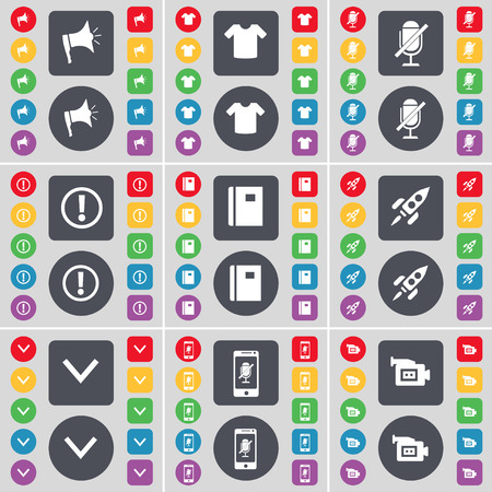 arrow down: Megaphone, T-Shirt, Microphone, Information, Notebook, Rocket,, Arrow down, Smartphone, Film camera icon symbol. A large set of flat, colored buttons for your design. Vector illustration