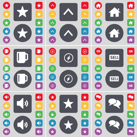 chat up: Star, Arrow up, House, Cup, Flash, Sell, Sound, Star, Chat icon symbol. A large set of flat, colored buttons for your design. Vector illustration