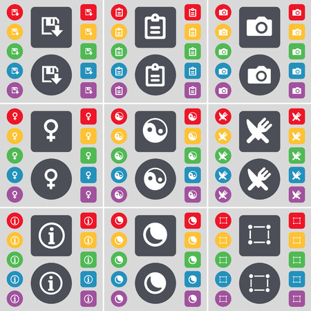 venus symbol: Floppy, Survey, Camera, Venus symbol, Yin-Yang, Fork and knife, Information, Moon, Frame icon symbol. A large set of flat, colored buttons for your design. Vector illustration Illustration