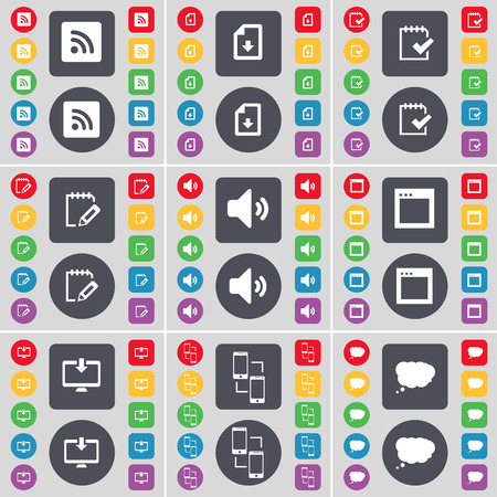 chat window: RSS, Download file, Survey, Sound, Window, Monitor, Connection, Chat cloud icon symbol. A large set of flat, colored buttons for your design. Vector illustration