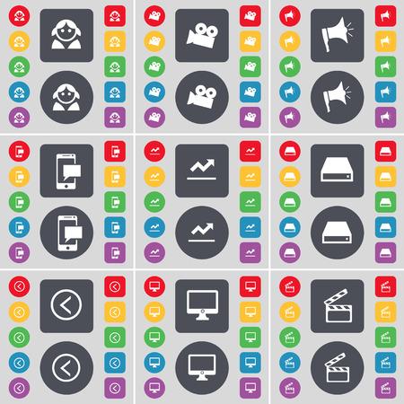 disco duro: Avatar, la c�mara de cine, Meg�fono, SMS, Gr�fico, Disco duro, Flecha izquierda, monitor, Clapper icono de s�mbolo. Un gran conjunto de planos botones, colores para su dise�o. Ilustraci�n vectorial Vectores
