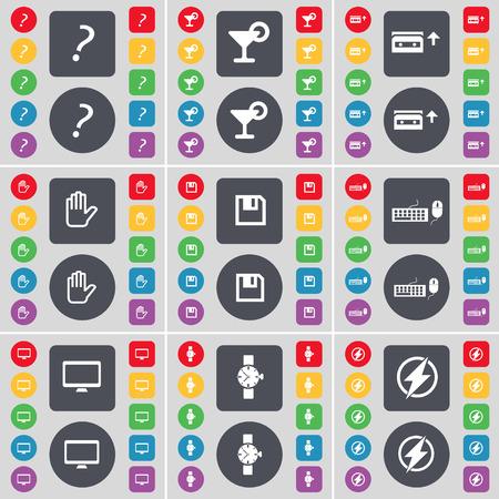 orologio da polso: Punto interrogativo, Cocktail, Cassette, Mano, Floppy, tastiera, monitor, orologio, icona simbolo Flash. Un grande insieme di piatti, pulsanti colorati per il vostro disegno. Illustrazione vettoriale Vettoriali